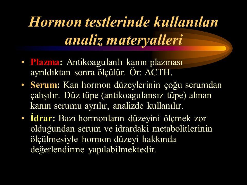 Hormon testlerinde kullanılan analiz materyalleri