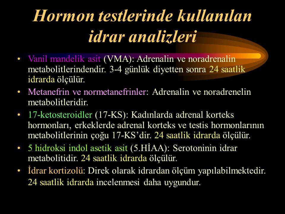Hormon testlerinde kullanılan idrar analizleri