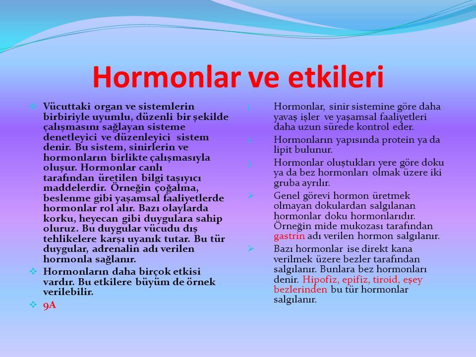 Hormonlar ve etkileri