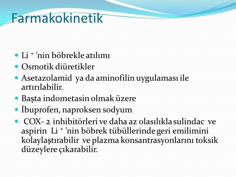 Farmakokinetik Li ⁺ 'nin böbrekle atılımı Osmotik diüretikler