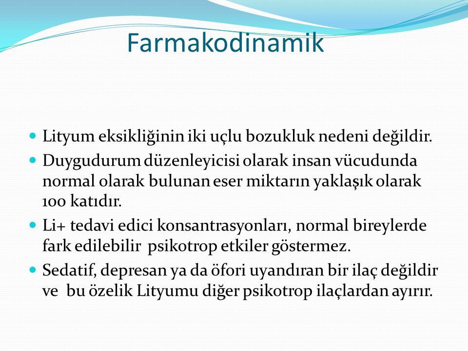 Farmakodinamik Lityum eksikliğinin iki uçlu bozukluk nedeni değildir.