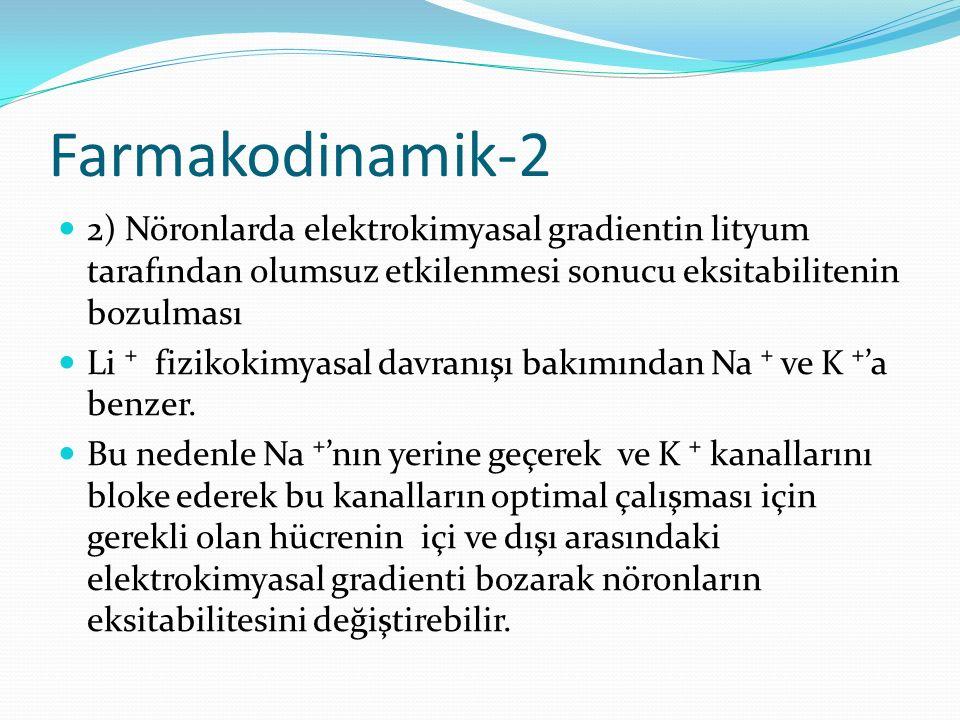 Farmakodinamik-2 2) Nöronlarda elektrokimyasal gradientin lityum tarafından olumsuz etkilenmesi sonucu eksitabilitenin bozulması.