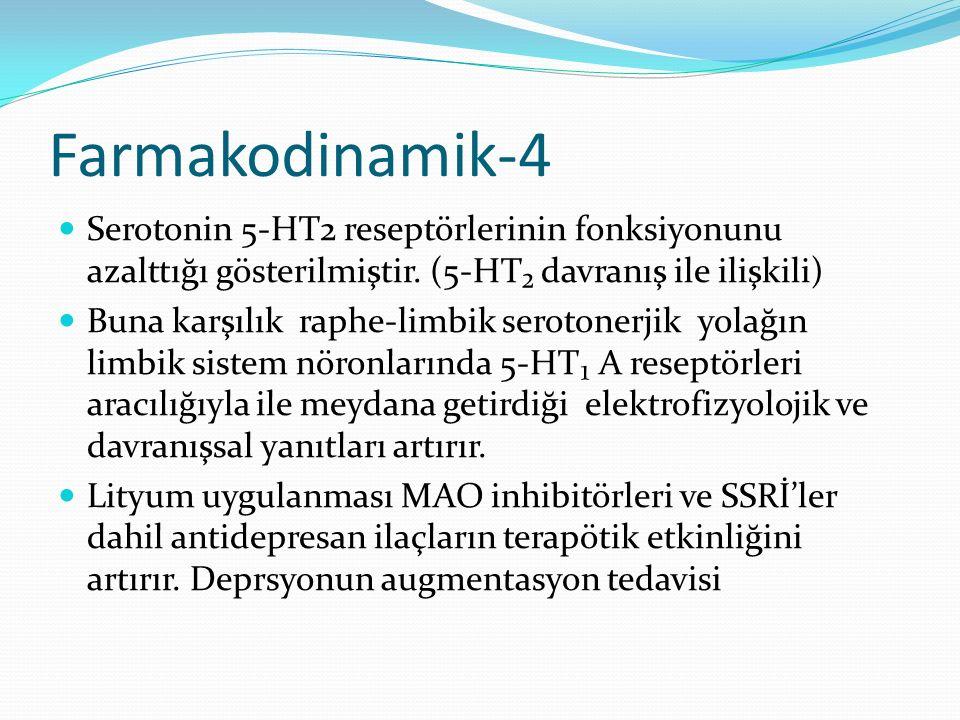 Farmakodinamik-4 Serotonin 5-HT2 reseptörlerinin fonksiyonunu azalttığı gösterilmiştir. (5-HT₂ davranış ile ilişkili)