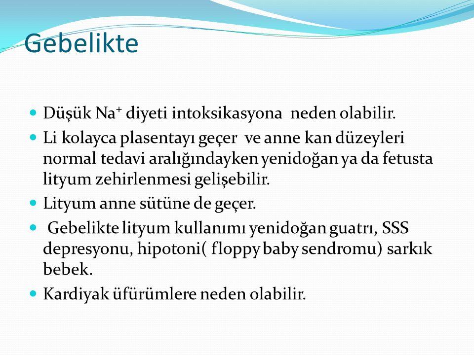 Gebelikte Düşük Na⁺ diyeti intoksikasyona neden olabilir.