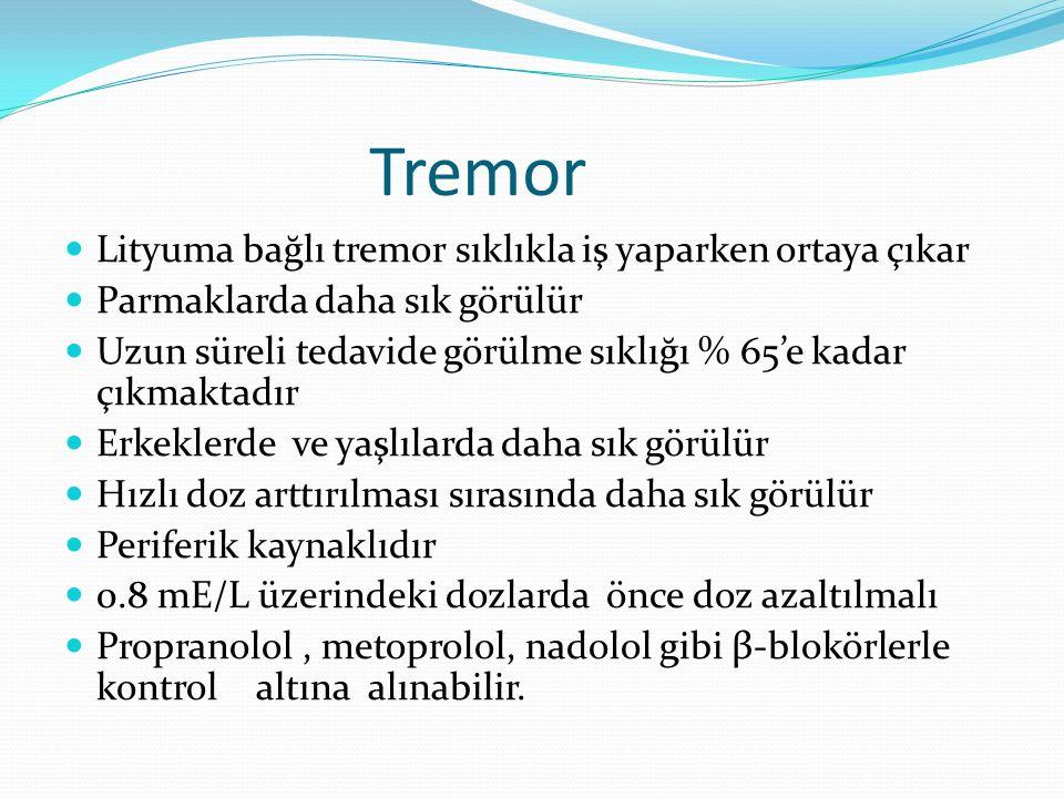 Tremor Lityuma bağlı tremor sıklıkla iş yaparken ortaya çıkar