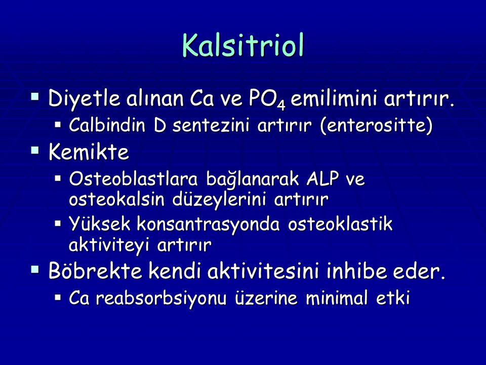 Kalsitriol Diyetle alınan Ca ve PO4 emilimini artırır. Kemikte