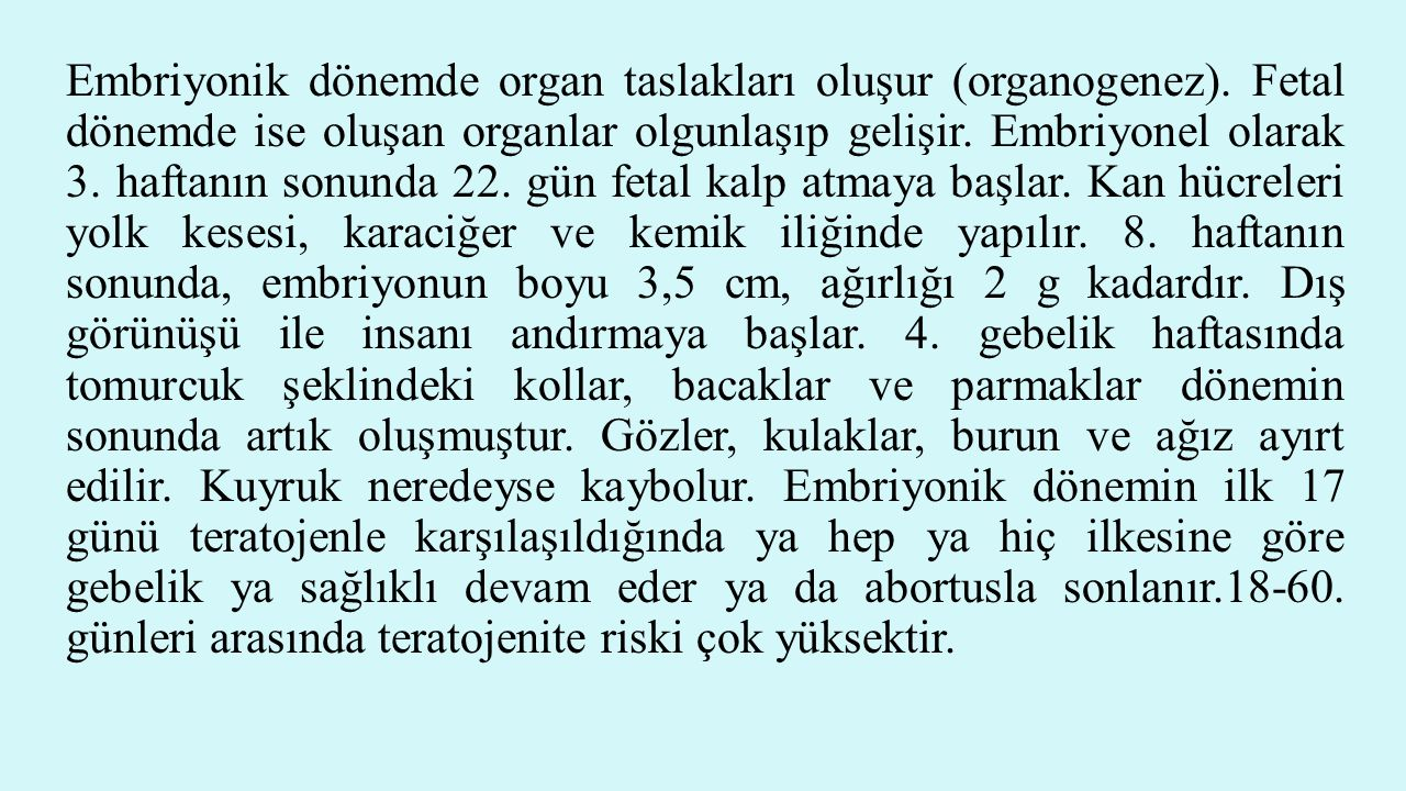 Embriyonik dönemde organ taslakları oluşur (organogenez)