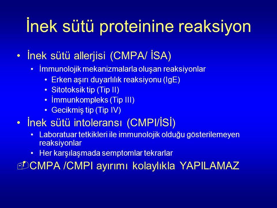 İnek sütü proteinine reaksiyon