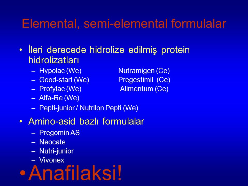Elemental, semi-elemental formulalar