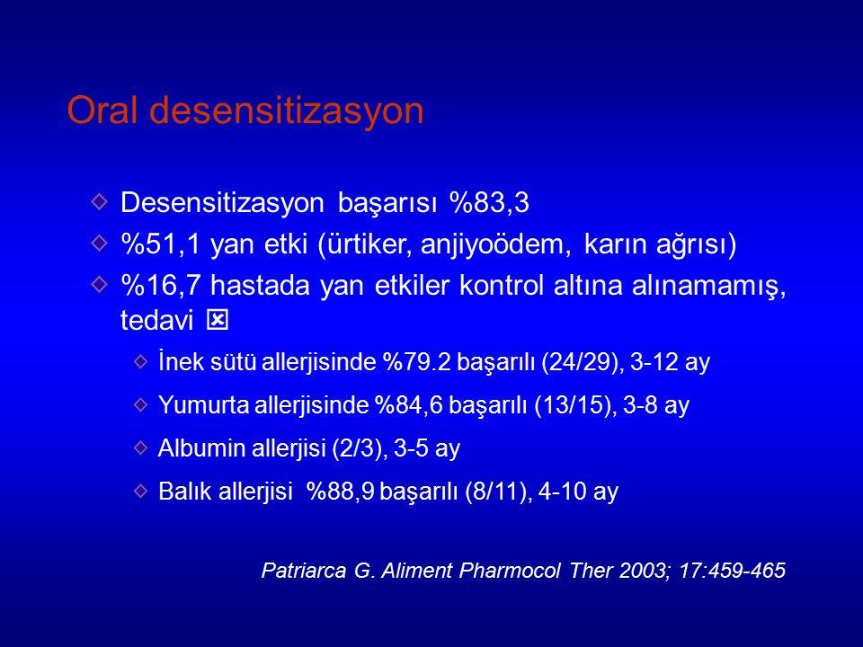 Oral desensitizasyon Desensitizasyon başarısı %83,3