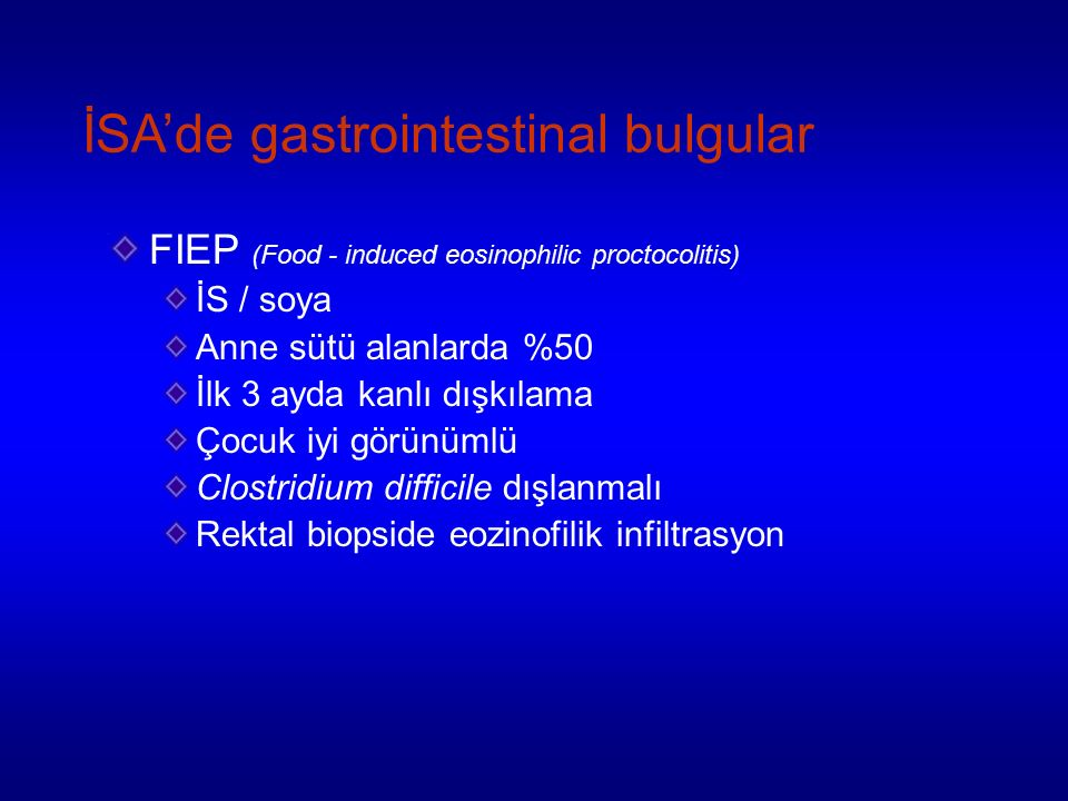 İSA'de gastrointestinal bulgular