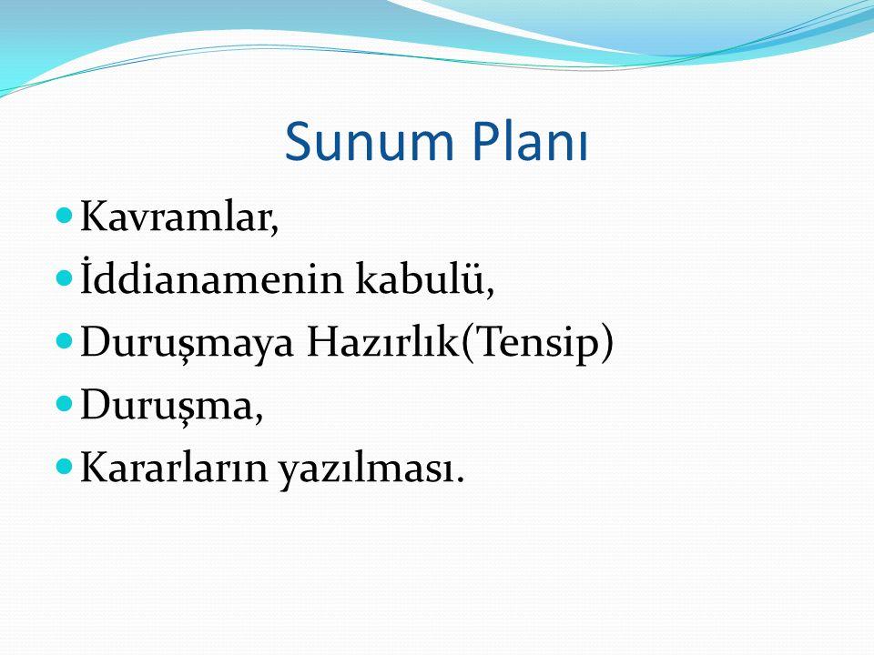 Sunum Planı Kavramlar, İddianamenin kabulü, Duruşmaya Hazırlık(Tensip)