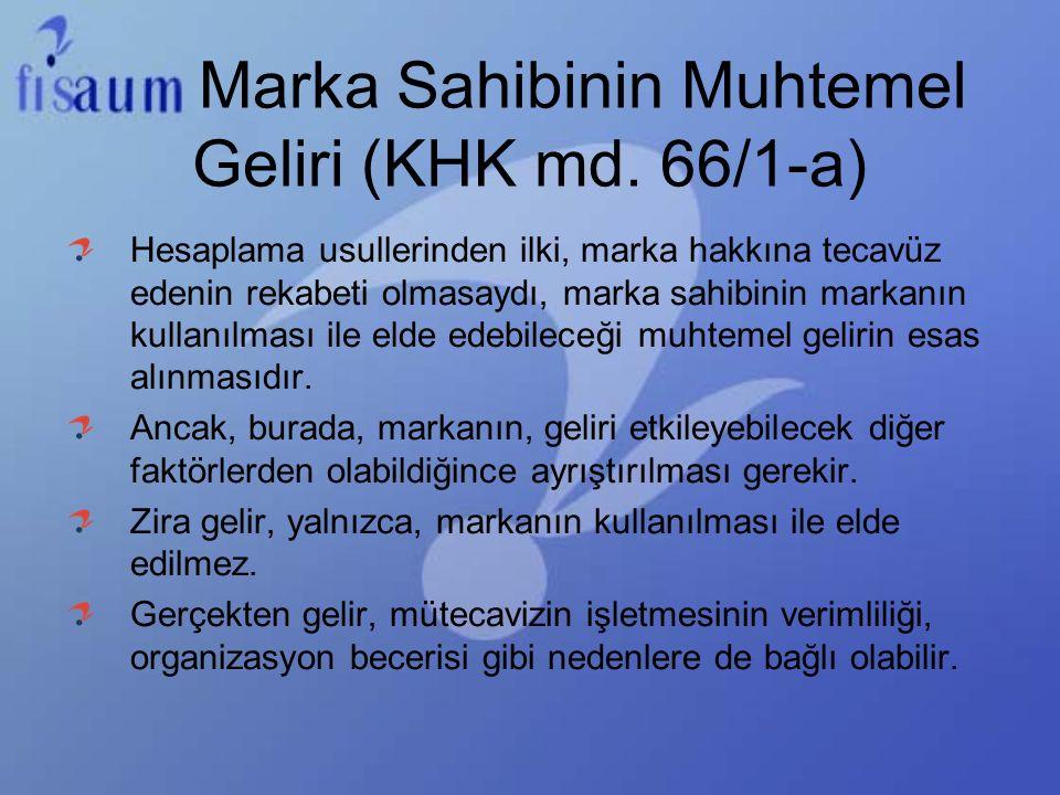 Marka Sahibinin Muhtemel Geliri (KHK md. 66/1-a)