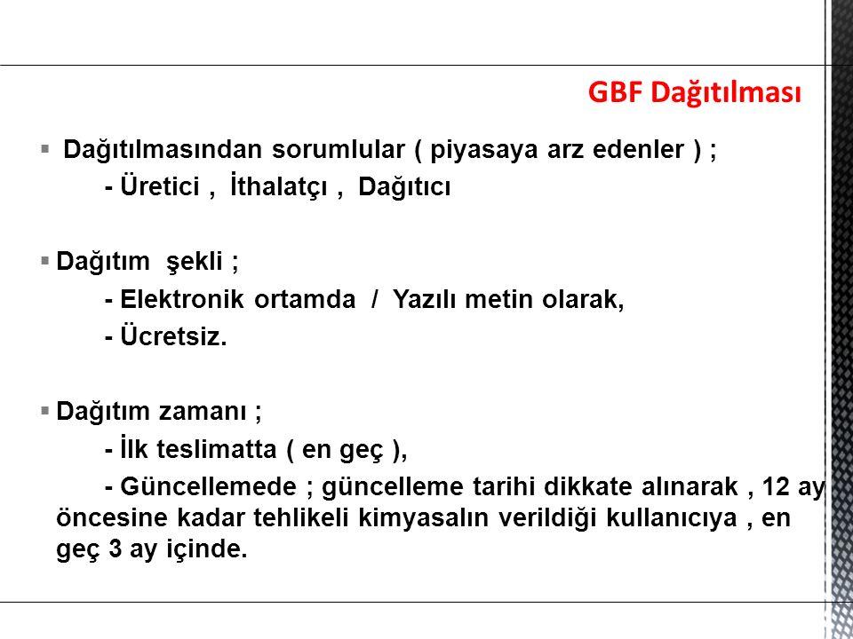 GBF Dağıtılması Dağıtılmasından sorumlular ( piyasaya arz edenler ) ;