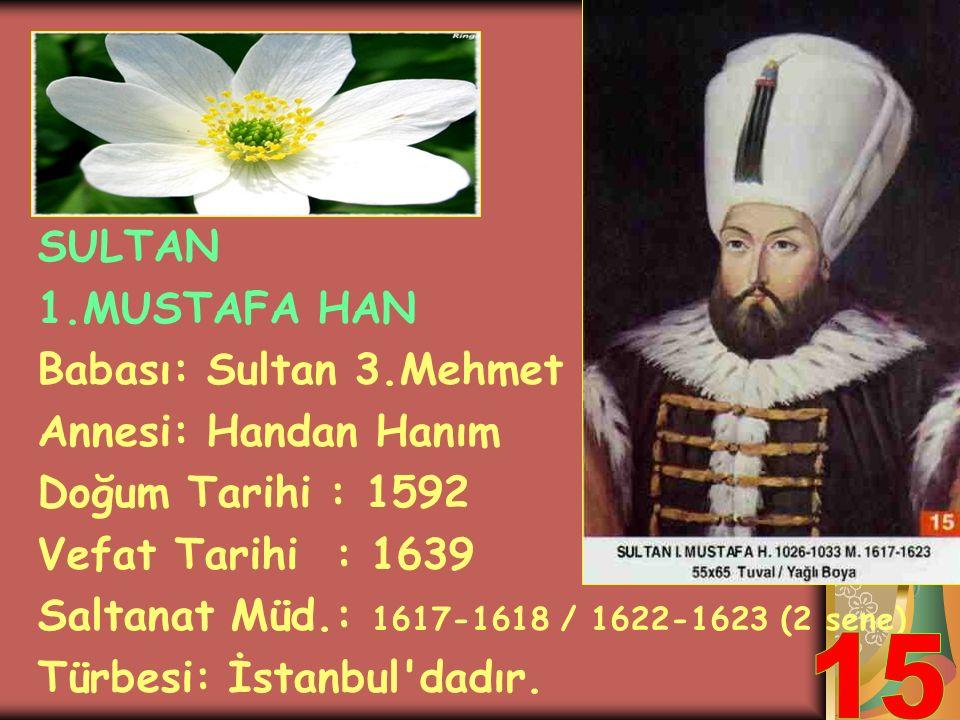 15 SULTAN 1.MUSTAFA HAN Babası: Sultan 3.Mehmet Annesi: Handan Hanım