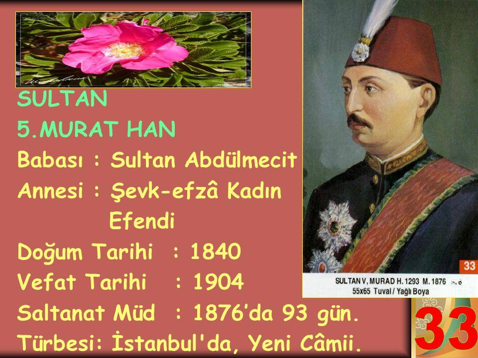 33 SULTAN 5.MURAT HAN Babası : Sultan Abdülmecit
