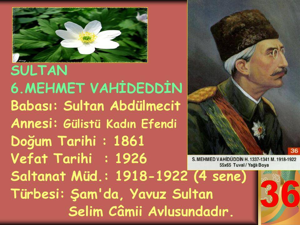 36 SULTAN 6.MEHMET VAHİDEDDİN Babası: Sultan Abdülmecit