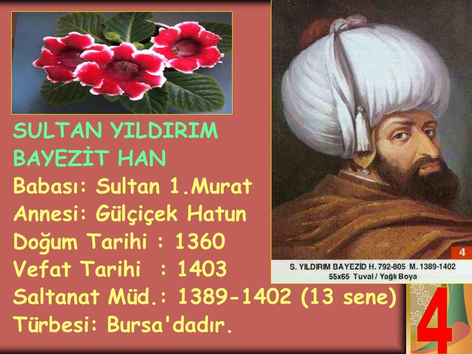 4 SULTAN YILDIRIM BAYEZİT HAN Babası: Sultan 1.Murat