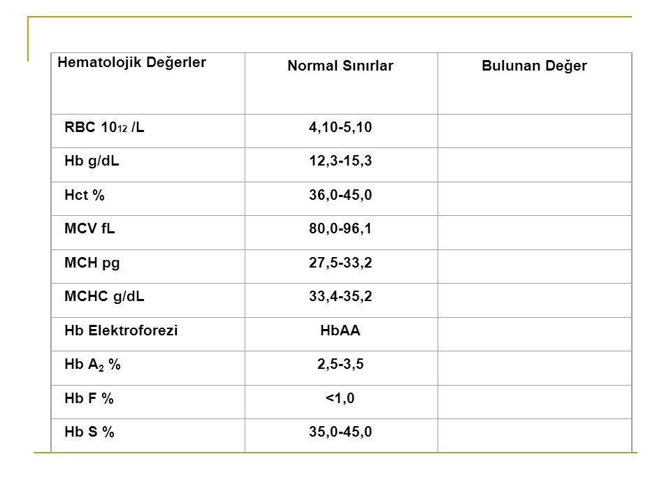 Hematolojik Değerler Normal Sınırlar. Bulunan Değer. RBC 1012 /L. 4,10-5,10. Hb g/dL. 12,3-15,3.