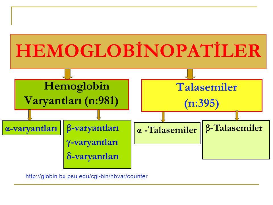 HEMOGLOBİNOPATİLER Hemoglobin Varyantları (n:981) Talasemiler (n:395)