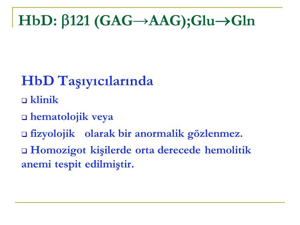 HbD: 121 (GAG→AAG);GluGln