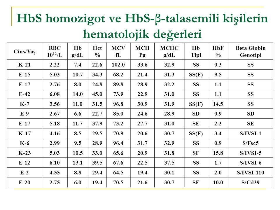 HbS homozigot ve HbS-β-talasemili kişilerin hematolojik değerleri