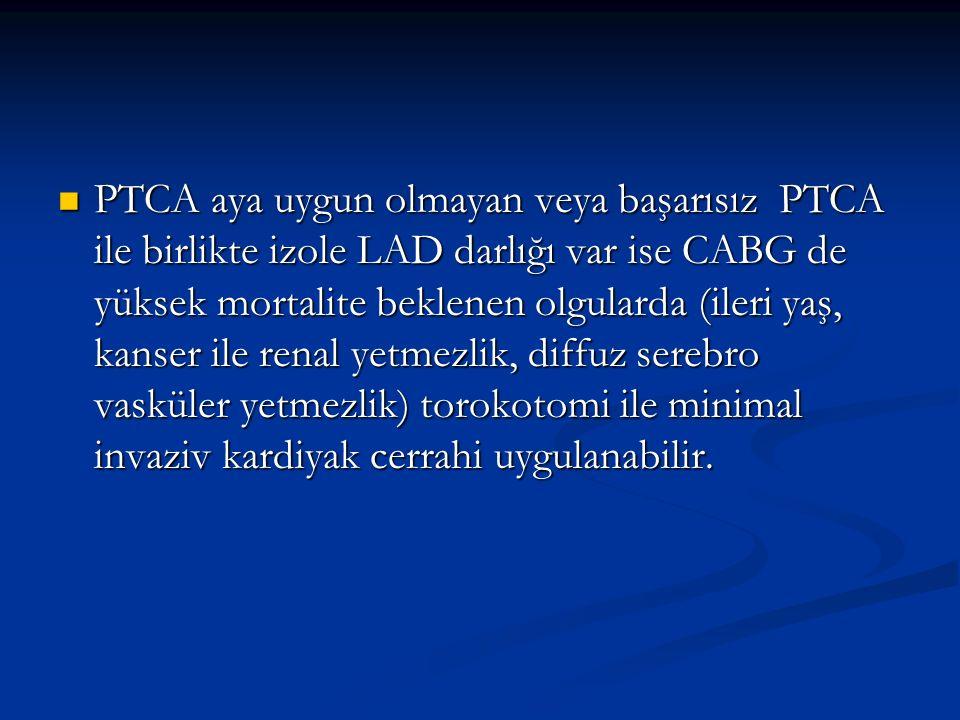 PTCA aya uygun olmayan veya başarısız PTCA ile birlikte izole LAD darlığı var ise CABG de yüksek mortalite beklenen olgularda (ileri yaş, kanser ile renal yetmezlik, diffuz serebro vasküler yetmezlik) torokotomi ile minimal invaziv kardiyak cerrahi uygulanabilir.