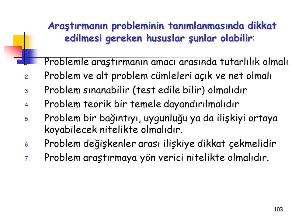 Araştırmanın probleminin tanımlanmasında dikkat edilmesi gereken hususlar şunlar olabilir: