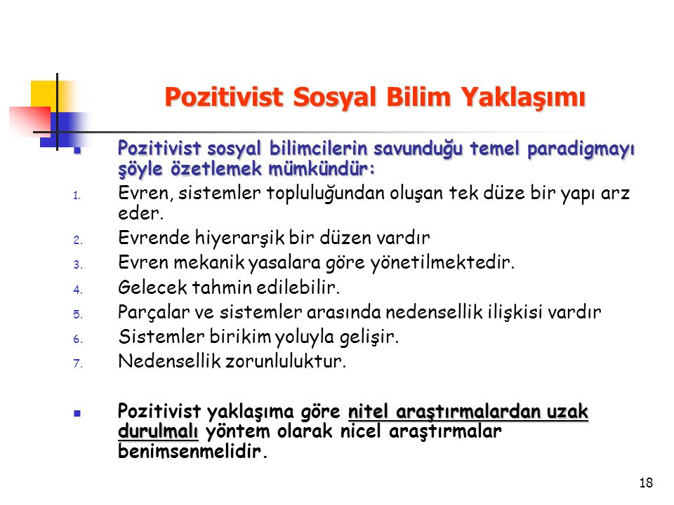 Pozitivist Sosyal Bilim Yaklaşımı