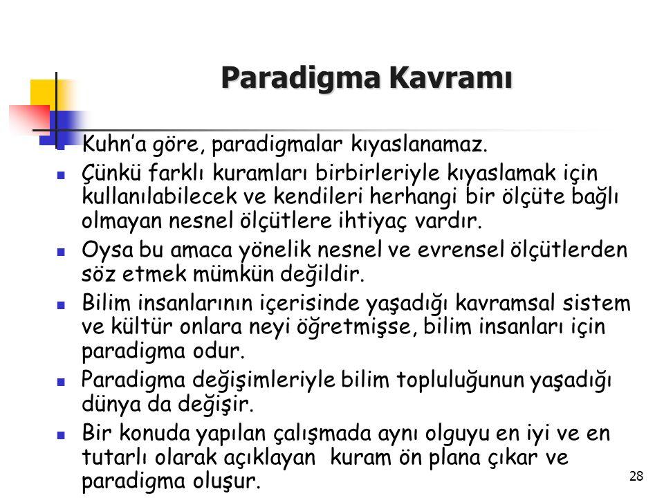 Paradigma Kavramı Kuhn'a göre, paradigmalar kıyaslanamaz.