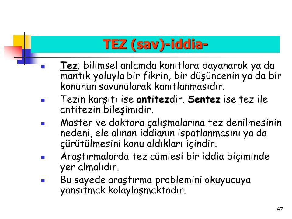 TEZ (sav)-iddia-