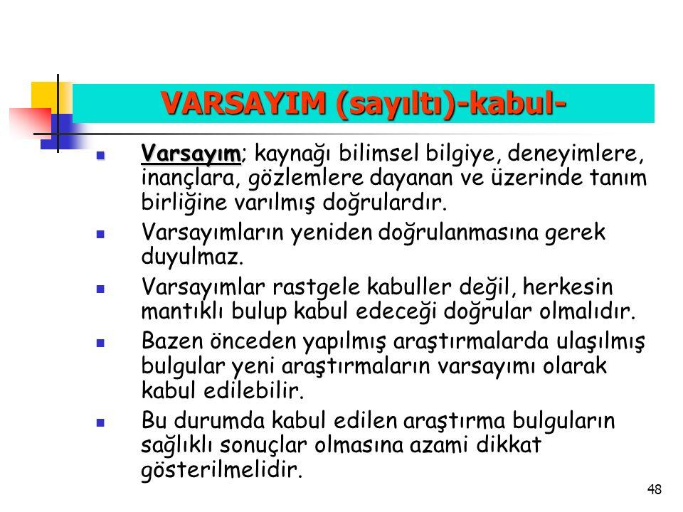 VARSAYIM (sayıltı)-kabul-