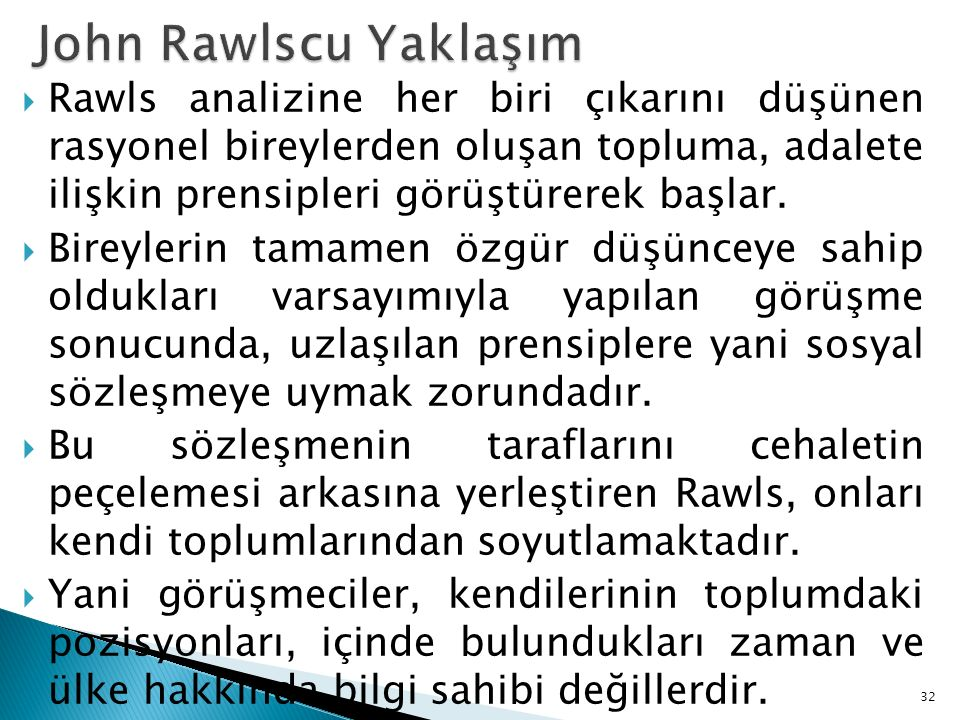John Rawlscu Yaklaşım