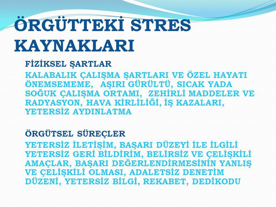 ÖRGÜTTEKİ STRES KAYNAKLARI