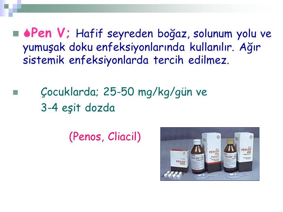 Pen V; Hafif seyreden boğaz, solunum yolu ve yumuşak doku enfeksiyonlarında kullanılır. Ağır sistemik enfeksiyonlarda tercih edilmez.