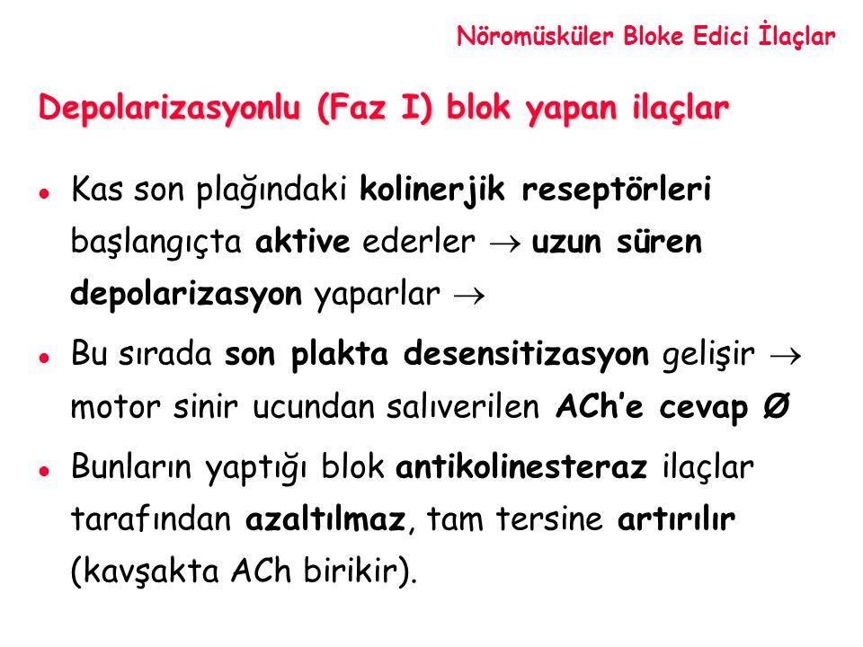Depolarizasyonlu (Faz I) blok yapan ilaçlar