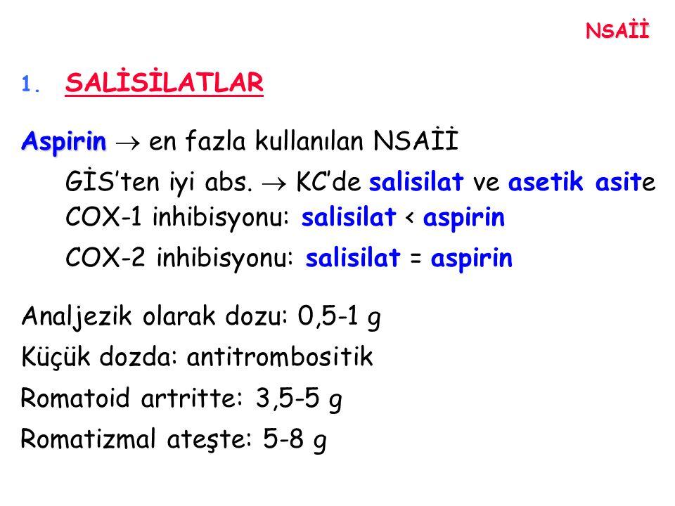 Aspirin  en fazla kullanılan NSAİİ