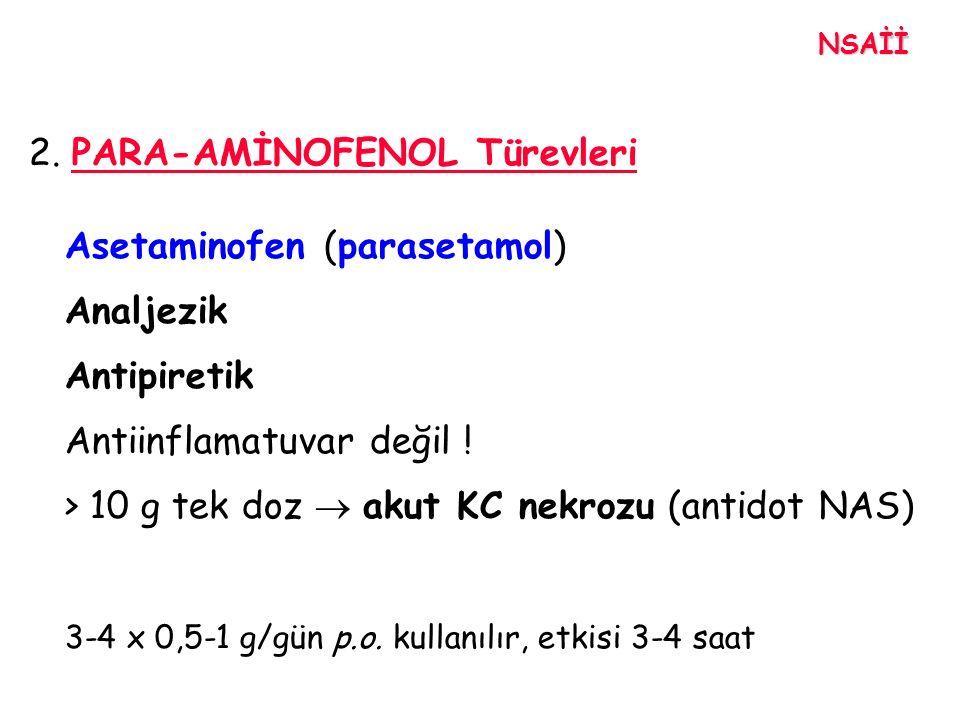 2. PARA-AMİNOFENOL Türevleri Asetaminofen (parasetamol) Analjezik