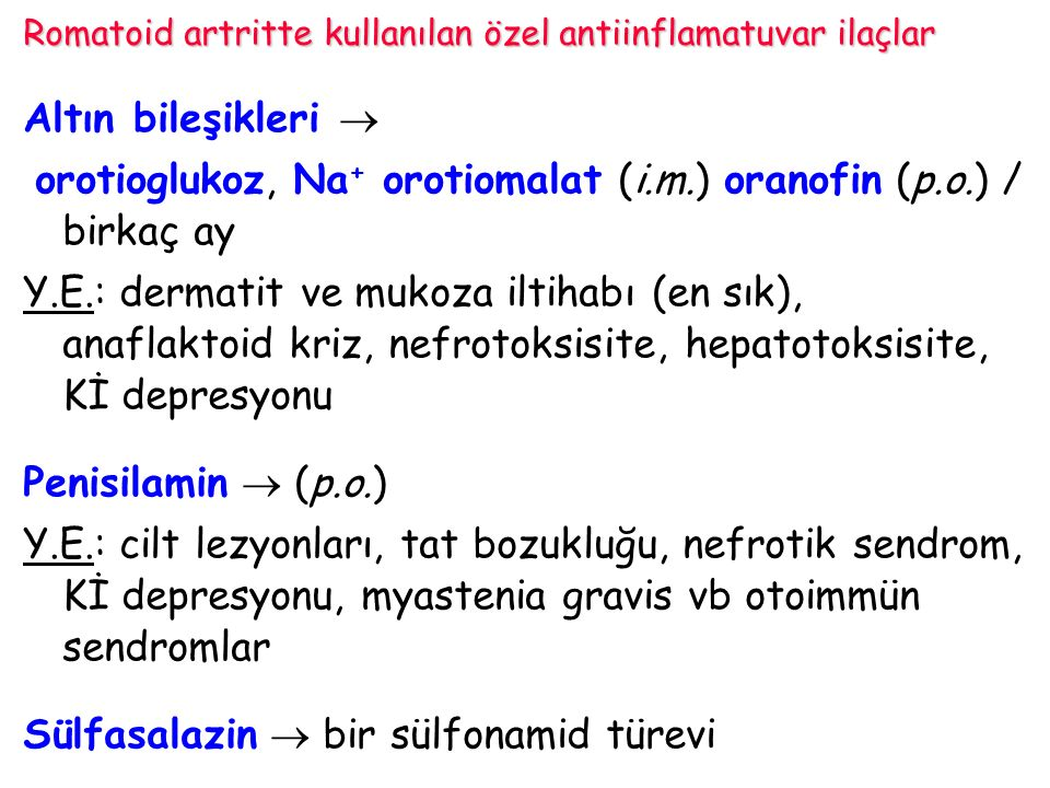 Romatoid artritte kullanılan özel antiinflamatuvar ilaçlar