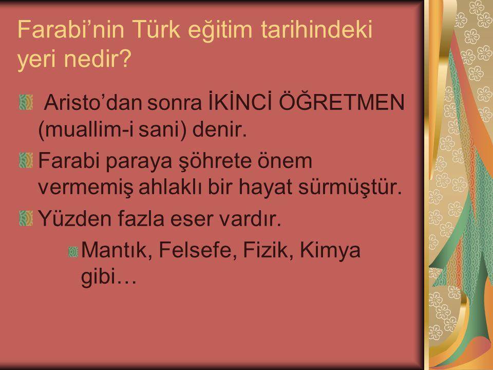 Farabi'nin Türk eğitim tarihindeki yeri nedir