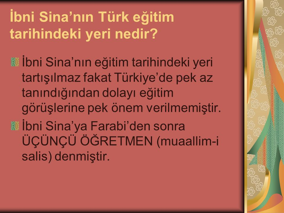 İbni Sina'nın Türk eğitim tarihindeki yeri nedir