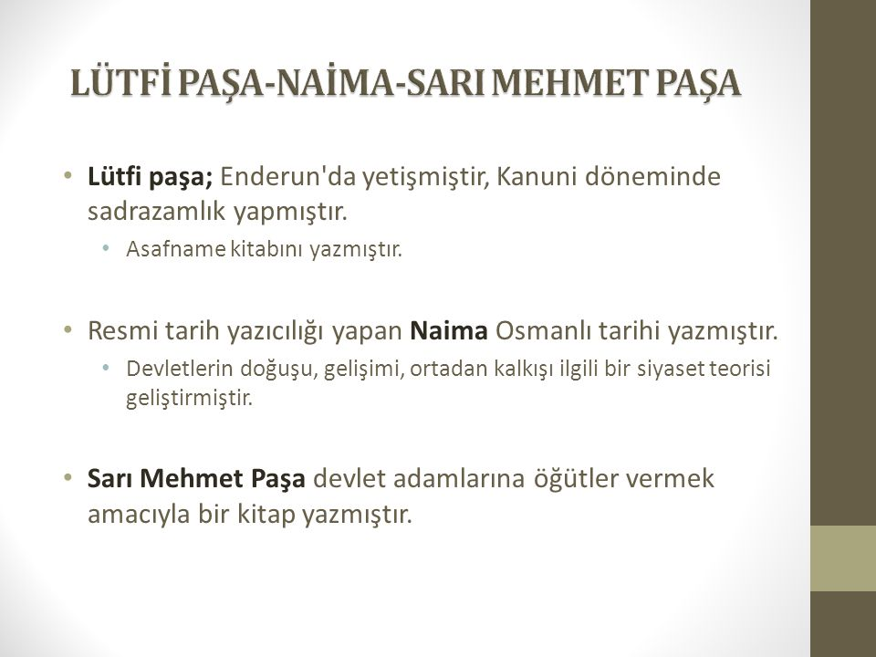 LÜTFİ PAŞA-NAİMA-SARI MEHMET PAŞA