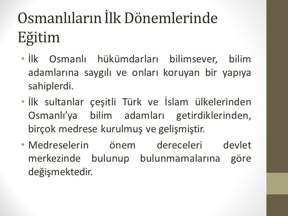 Osmanlıların İlk Dönemlerinde Eğitim