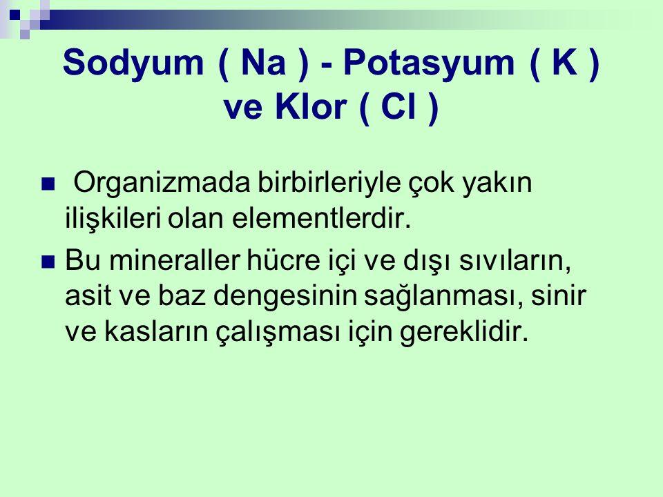 Sodyum ( Na ) - Potasyum ( K ) ve Klor ( Cl )