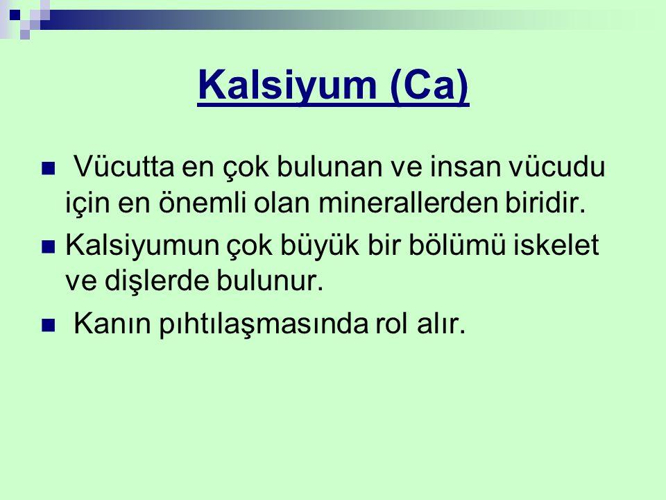 Kalsiyum (Ca) Vücutta en çok bulunan ve insan vücudu için en önemli olan minerallerden biridir.