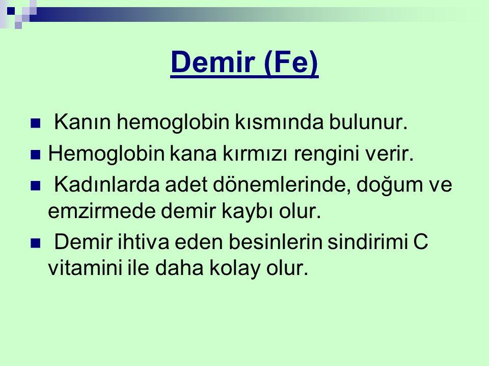Demir (Fe) Kanın hemoglobin kısmında bulunur.