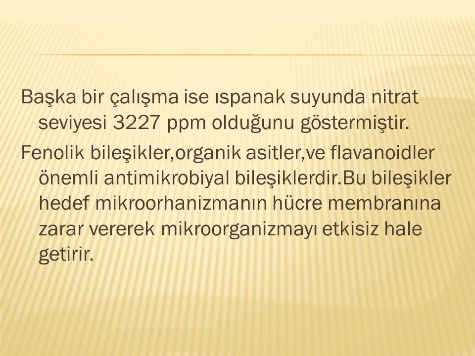Başka bir çalışma ise ıspanak suyunda nitrat seviyesi 3227 ppm olduğunu göstermiştir.