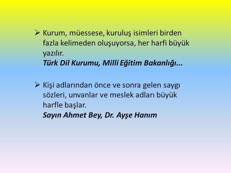 Kurum, müessese, kuruluş isimleri birden fazla kelimeden oluşuyorsa, her harfi büyük yazılır. Türk Dil Kurumu, Milli Eğitim Bakanlığı...