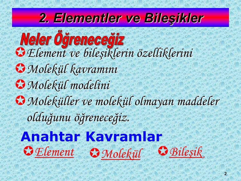 2. Elementler ve Bileşikler