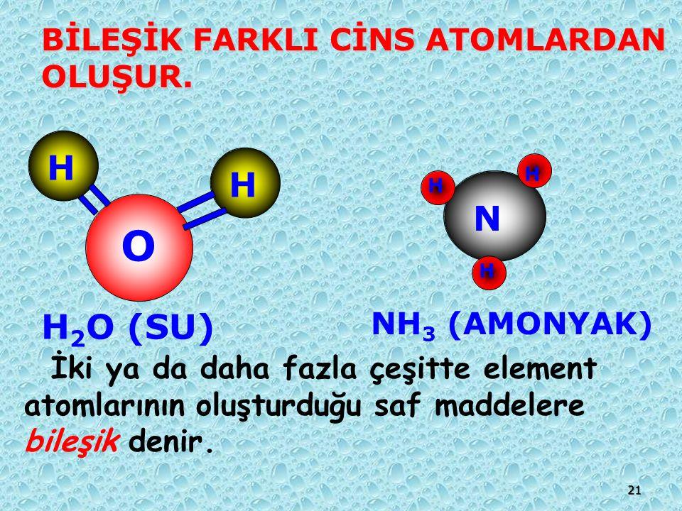 O H N H2O (SU) BİLEŞİK FARKLI CİNS ATOMLARDAN OLUŞUR. NH3 (AMONYAK)